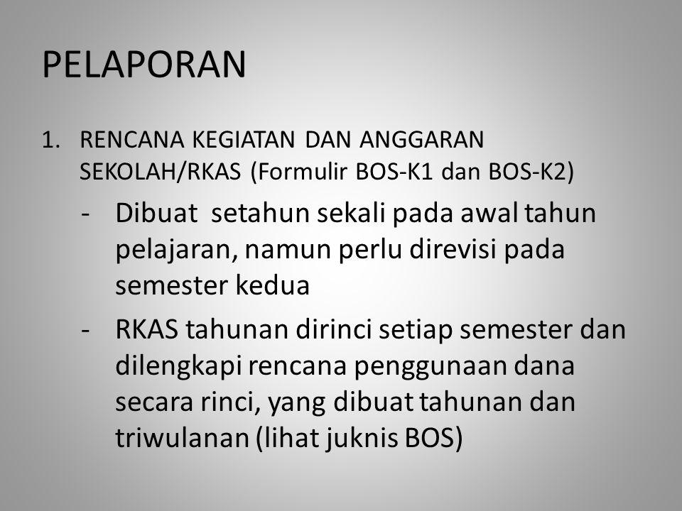 PELAPORAN RENCANA KEGIATAN DAN ANGGARAN SEKOLAH/RKAS (Formulir BOS-K1 dan BOS-K2)