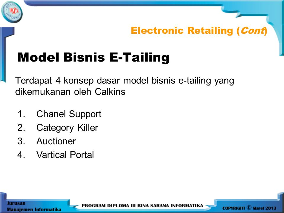 Model Bisnis E-Tailing