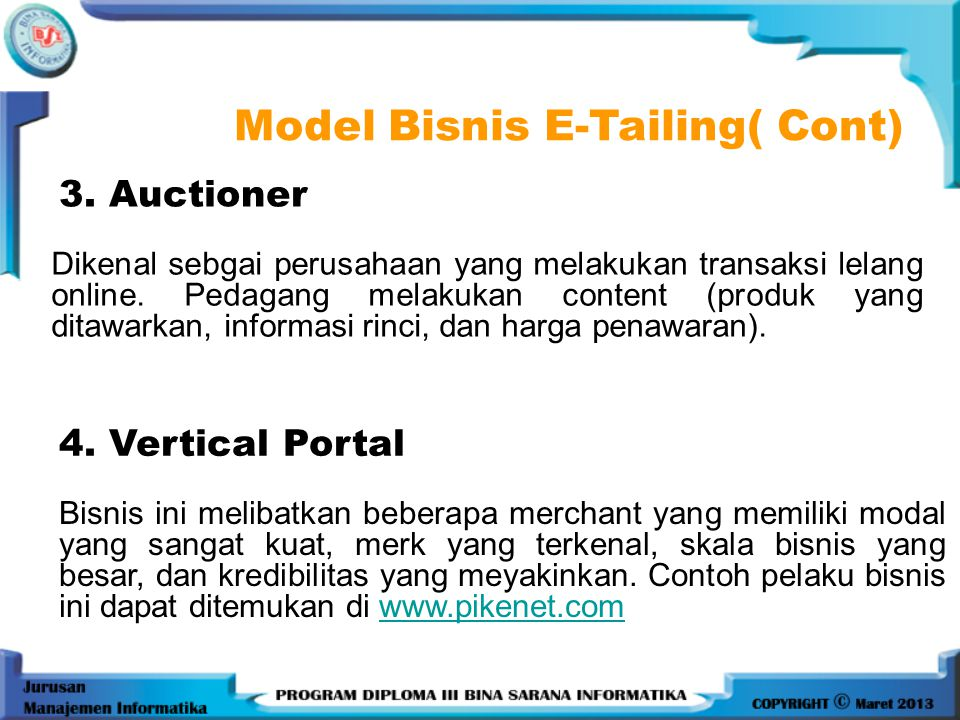 Model Bisnis E-Tailing( Cont)
