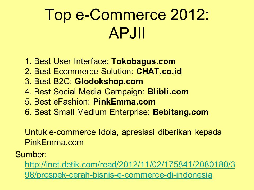 Top e-Commerce 2012: APJII