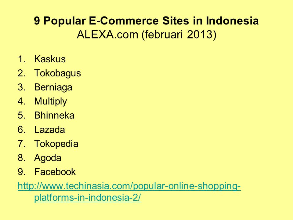 9 Popular E-Commerce Sites in Indonesia ALEXA.com (februari 2013)