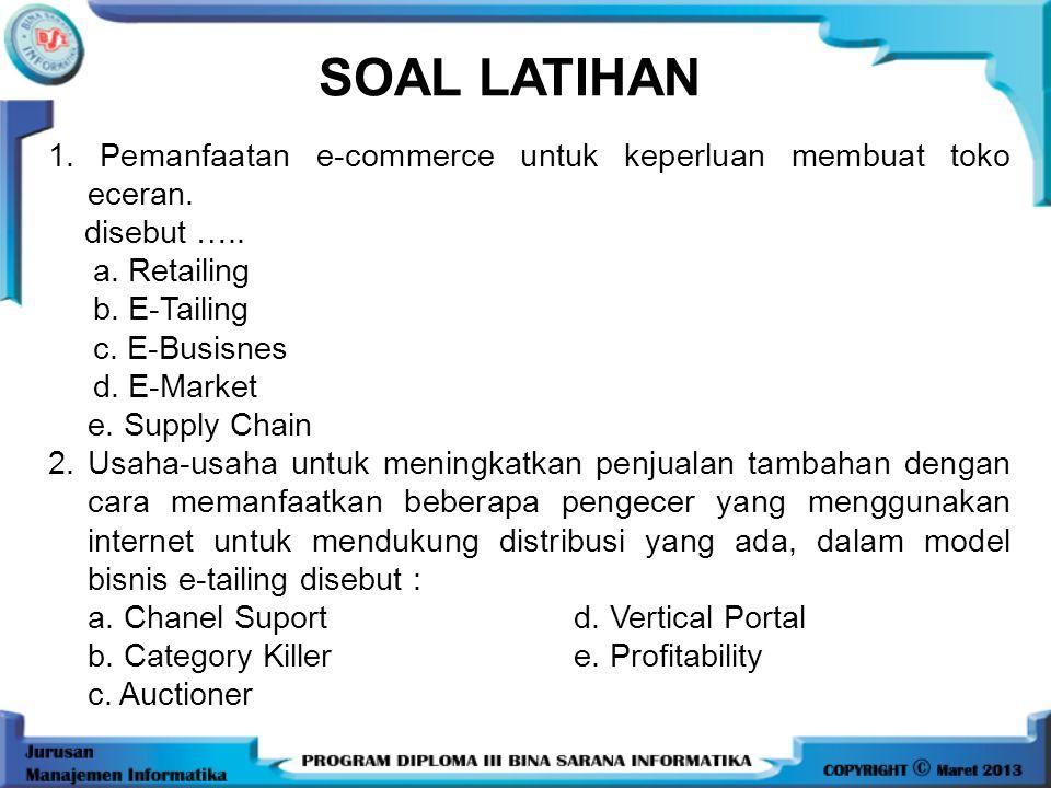 SOAL LATIHAN 1. Pemanfaatan e-commerce untuk keperluan membuat toko eceran. disebut ….. a. Retailing.