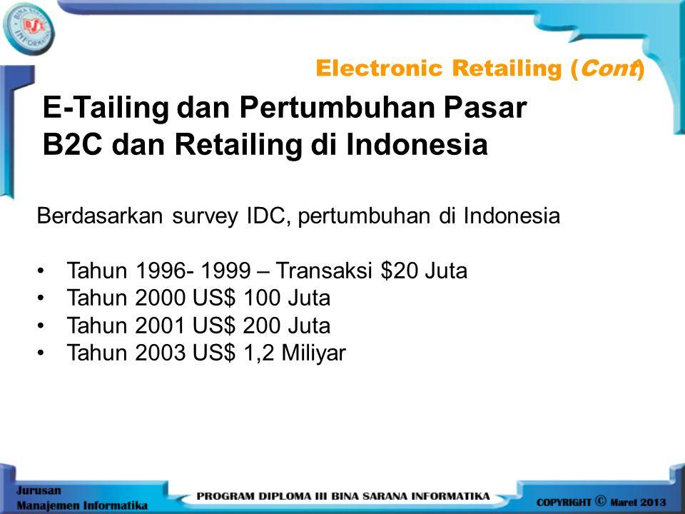 E-Tailing dan Pertumbuhan Pasar B2C dan Retailing di Indonesia