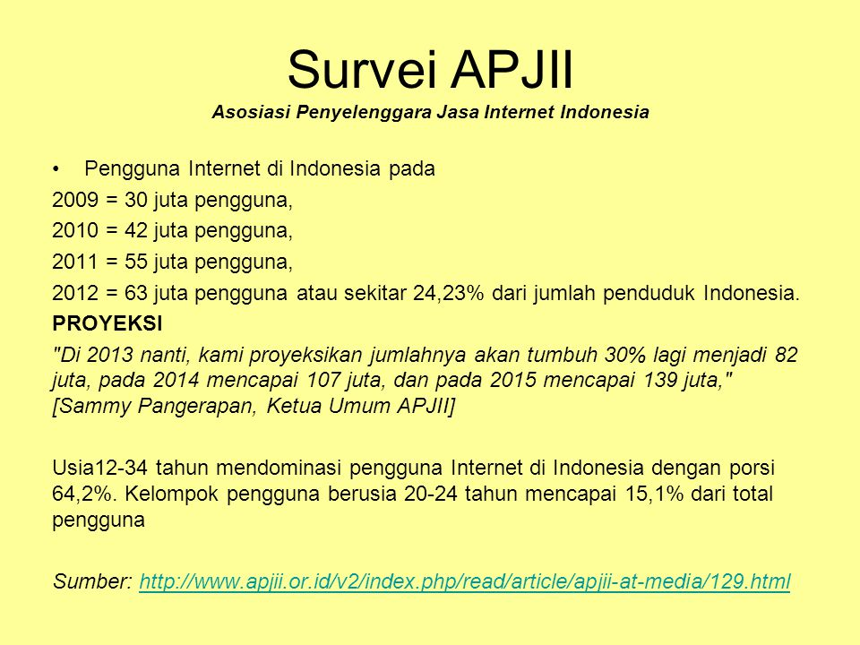 Survei APJII Asosiasi Penyelenggara Jasa Internet Indonesia