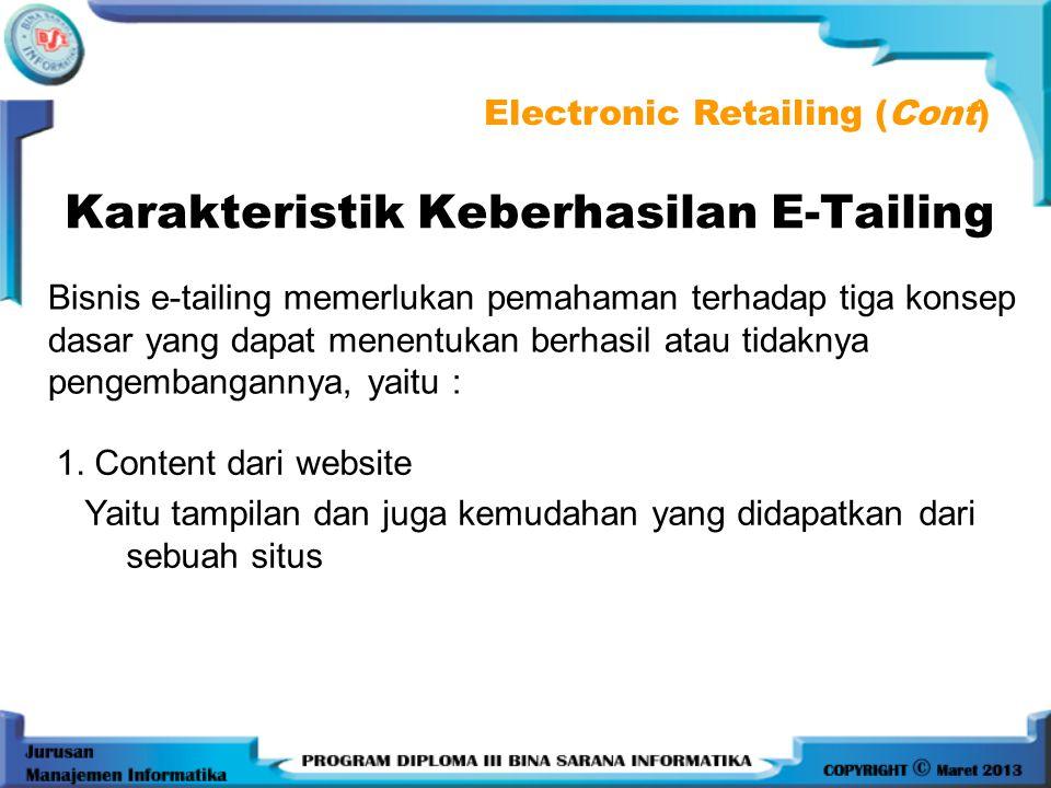 Karakteristik Keberhasilan E-Tailing
