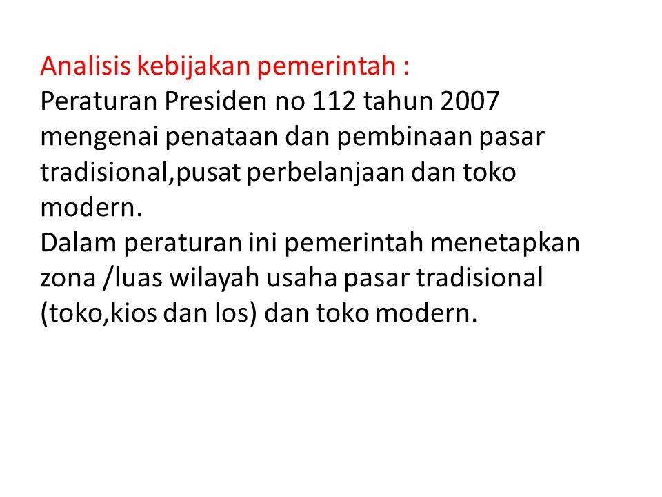 Analisis kebijakan pemerintah : Peraturan Presiden no 112 tahun 2007 mengenai penataan dan pembinaan pasar tradisional,pusat perbelanjaan dan toko modern.