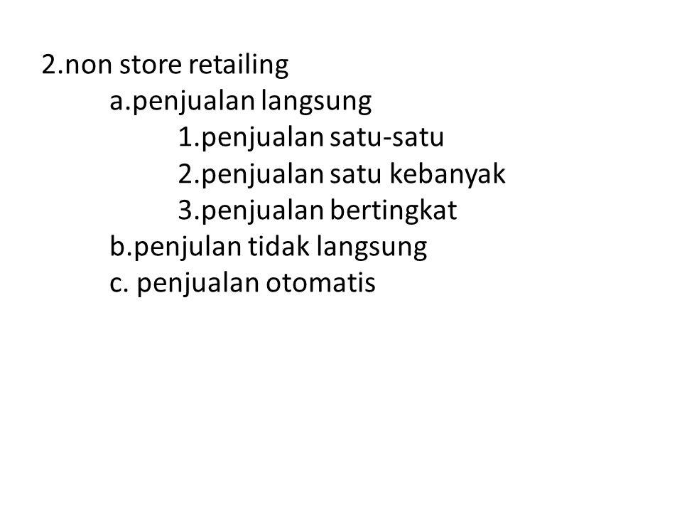 2. non store retailing. a. penjualan langsung. 1. penjualan satu-satu