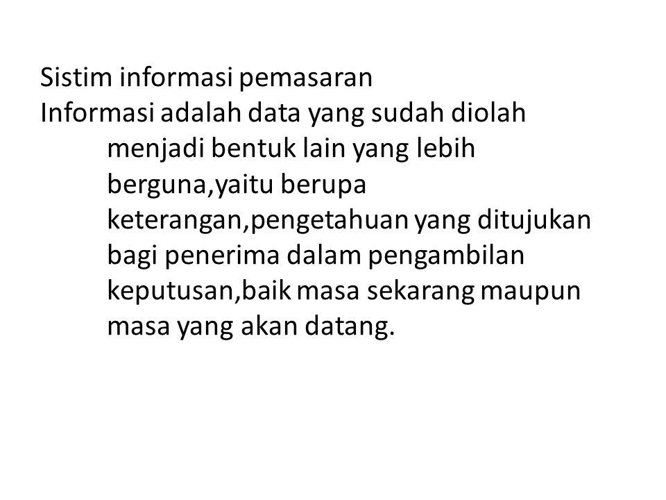 Sistim informasi pemasaran Informasi adalah data yang sudah diolah