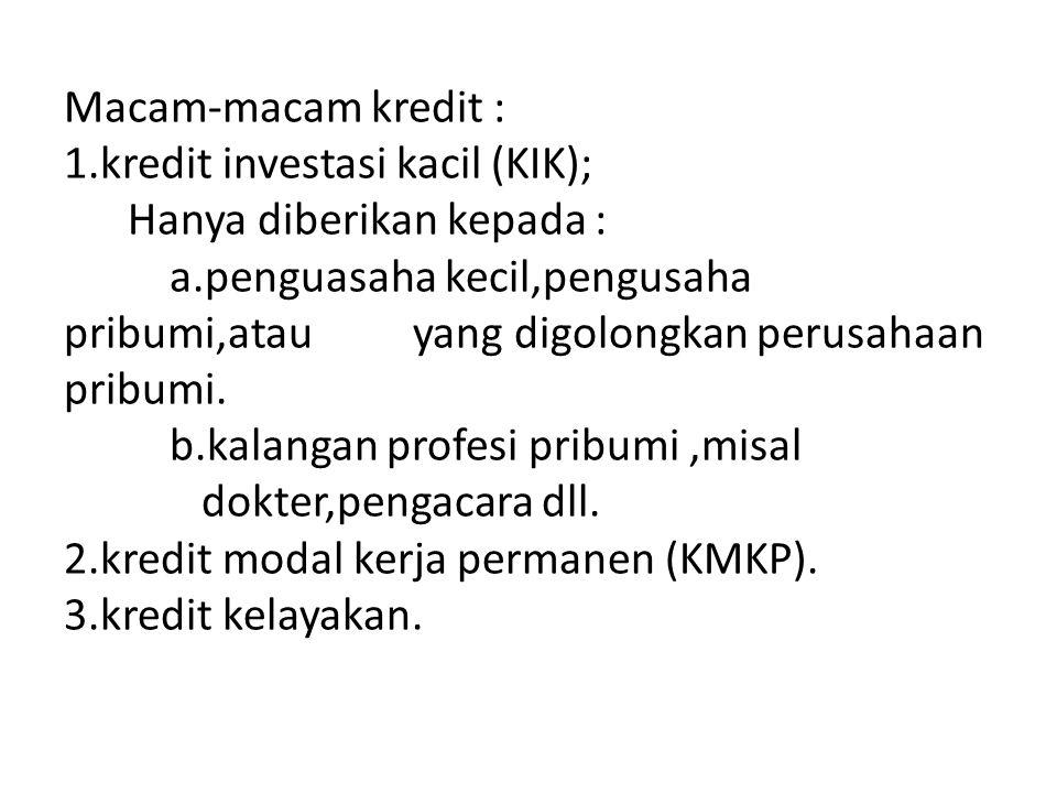 Macam-macam kredit : 1.kredit investasi kacil (KIK); Hanya diberikan kepada : a.penguasaha kecil,pengusaha pribumi,atau yang digolongkan perusahaan pribumi.