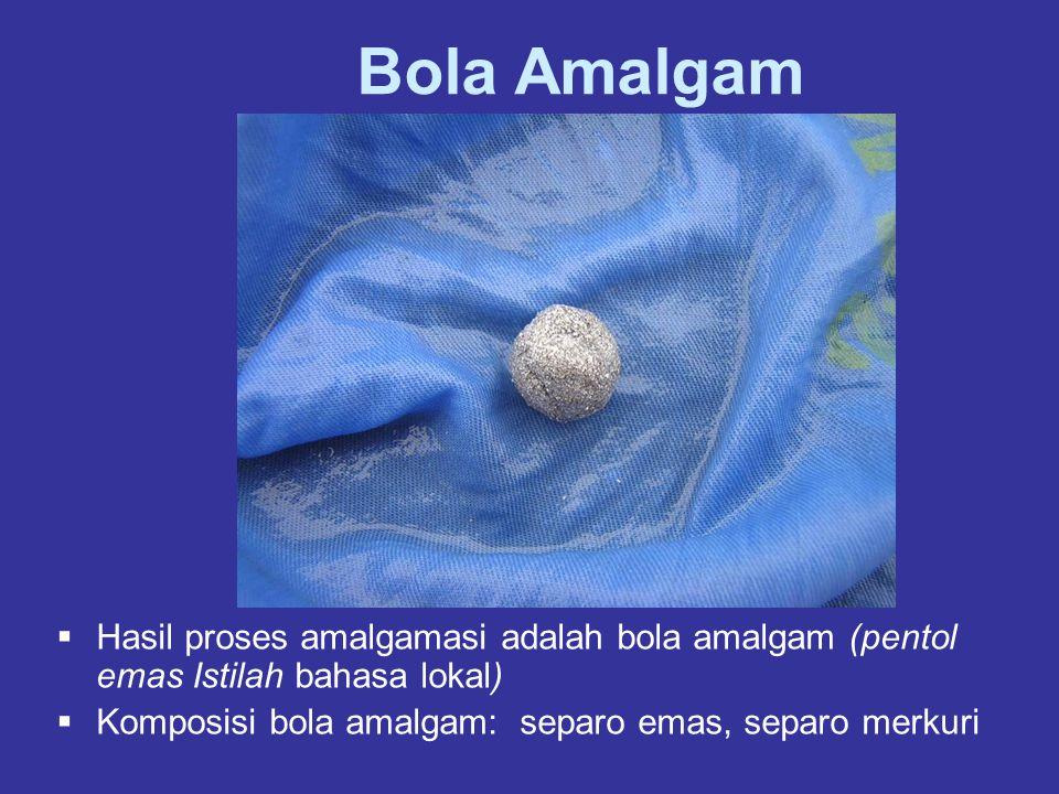 Bola Amalgam Hasil proses amalgamasi adalah bola amalgam (pentol emas Istilah bahasa lokal) Komposisi bola amalgam: separo emas, separo merkuri.