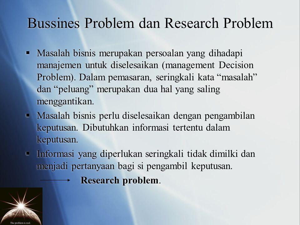 Bussines Problem dan Research Problem