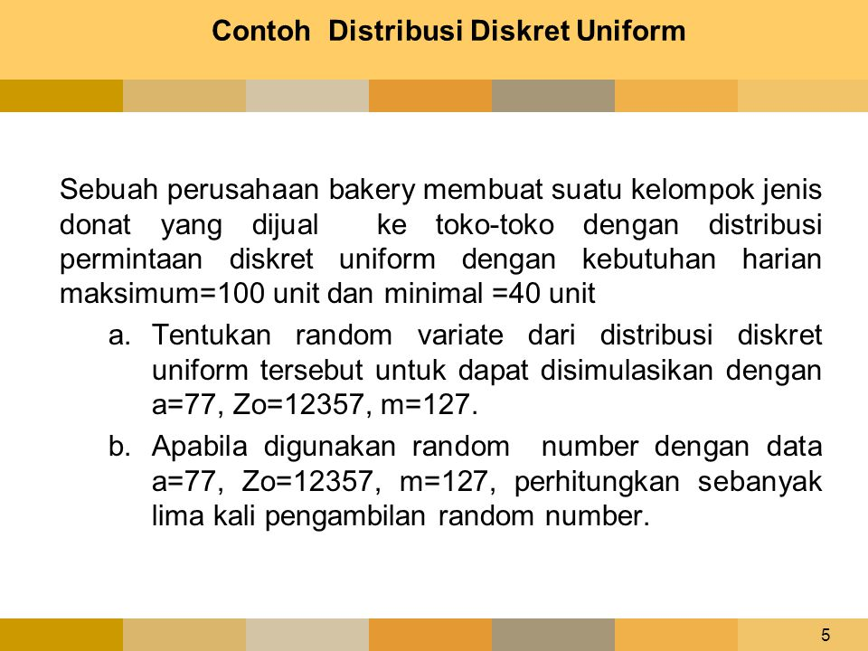 Contoh Distribusi Diskret Uniform