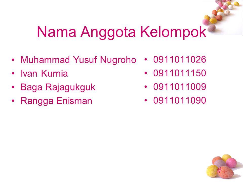 Nama Anggota Kelompok Muhammad Yusuf Nugroho 0911011026 Ivan Kurnia