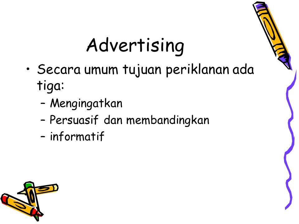 Advertising Secara umum tujuan periklanan ada tiga: Mengingatkan