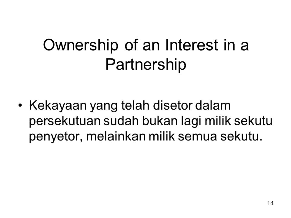 Ownership of an Interest in a Partnership