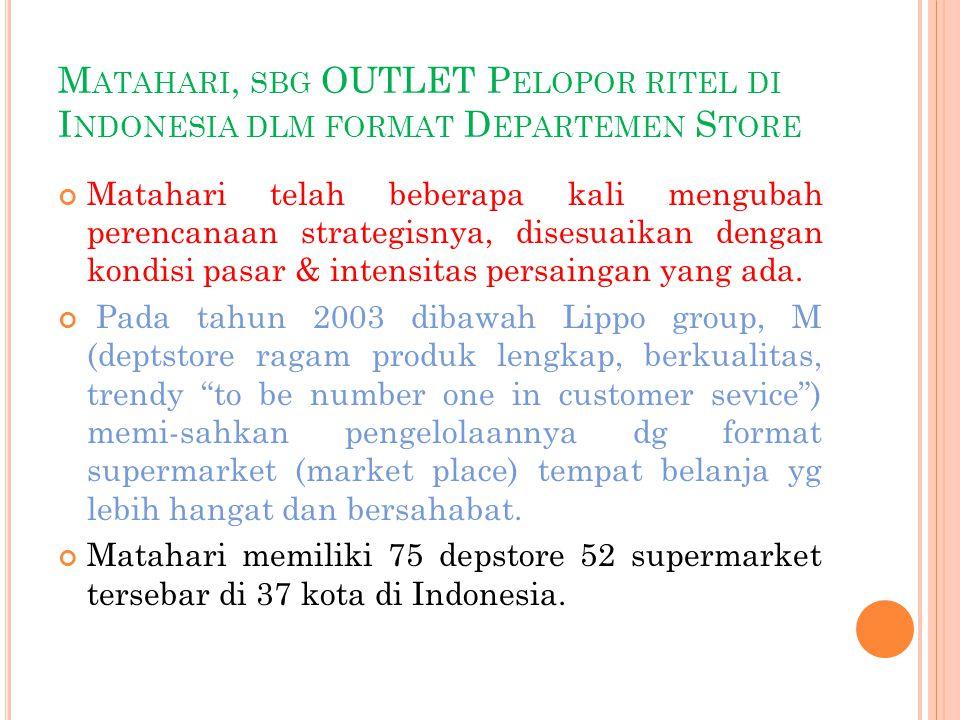 Matahari, sbg OUTLET Pelopor ritel di Indonesia dlm format Departemen Store