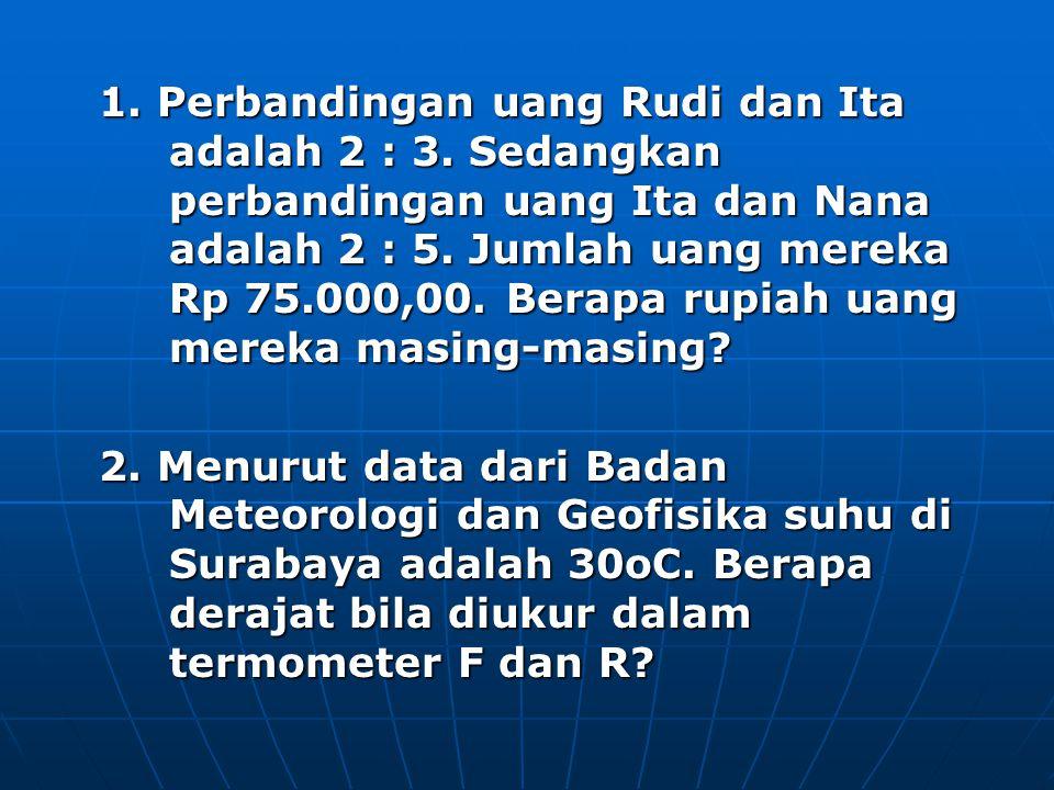 1. Perbandingan uang Rudi dan Ita adalah 2 : 3
