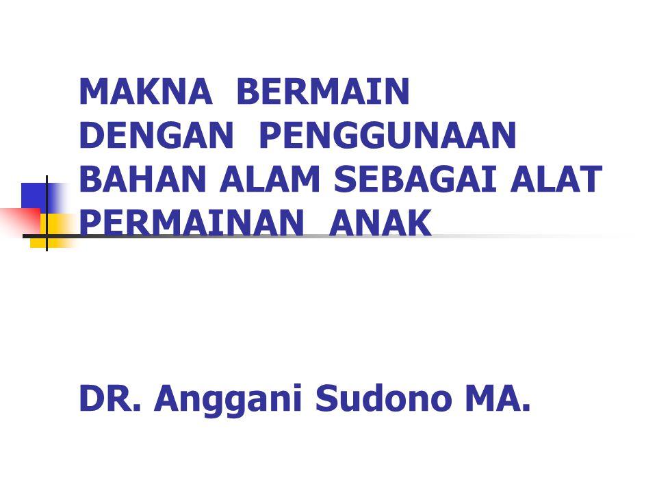 MAKNA BERMAIN DENGAN PENGGUNAAN BAHAN ALAM SEBAGAI ALAT PERMAINAN ANAK DR. Anggani Sudono MA.