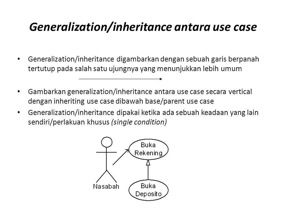 Generalization/inheritance antara use case