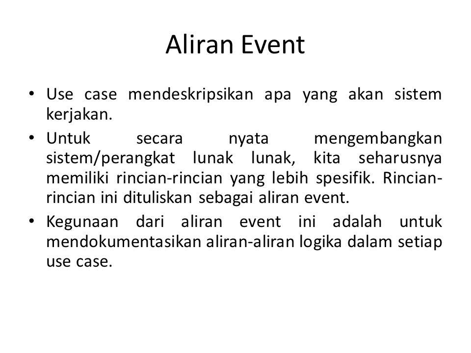 Aliran Event Use case mendeskripsikan apa yang akan sistem kerjakan.