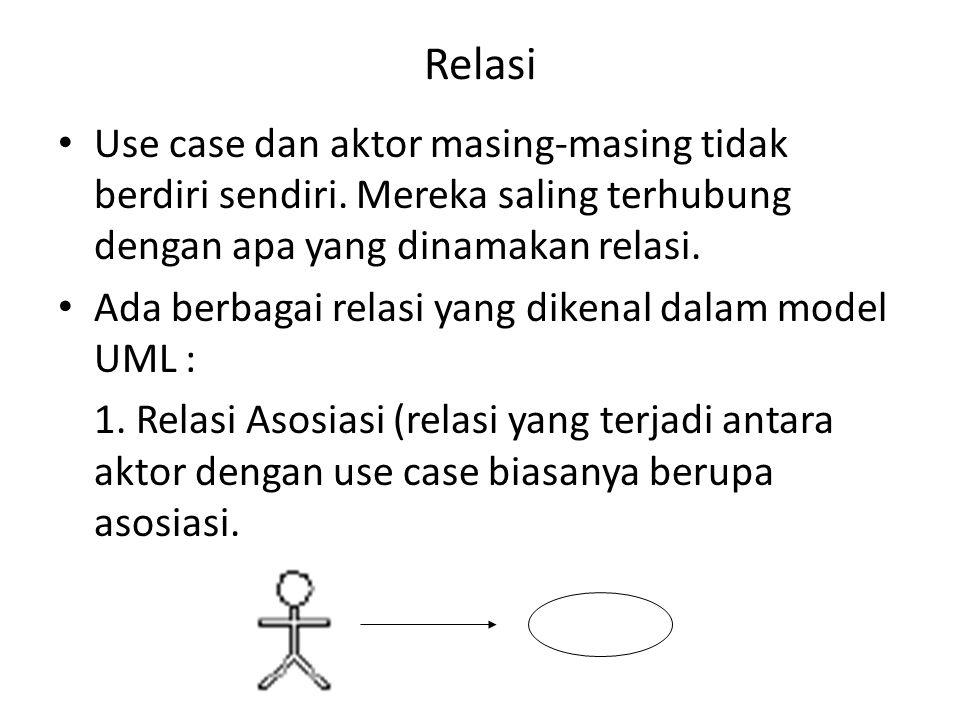 Relasi Use case dan aktor masing-masing tidak berdiri sendiri. Mereka saling terhubung dengan apa yang dinamakan relasi.