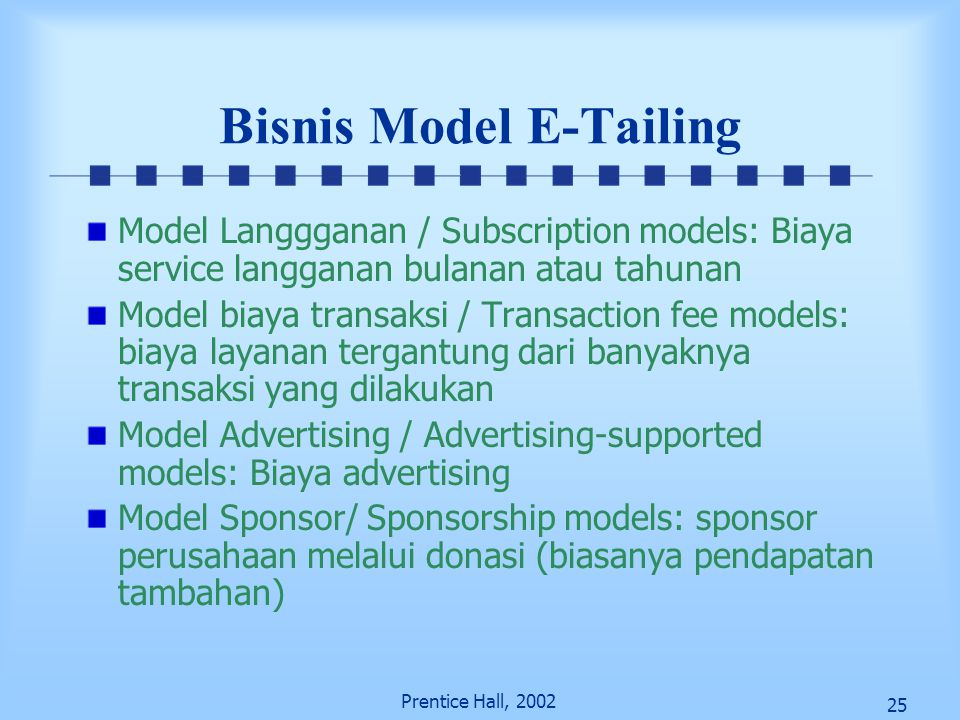 Bisnis Model E-Tailing