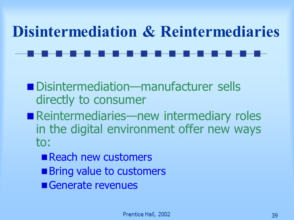 Disintermediation & Reintermediaries