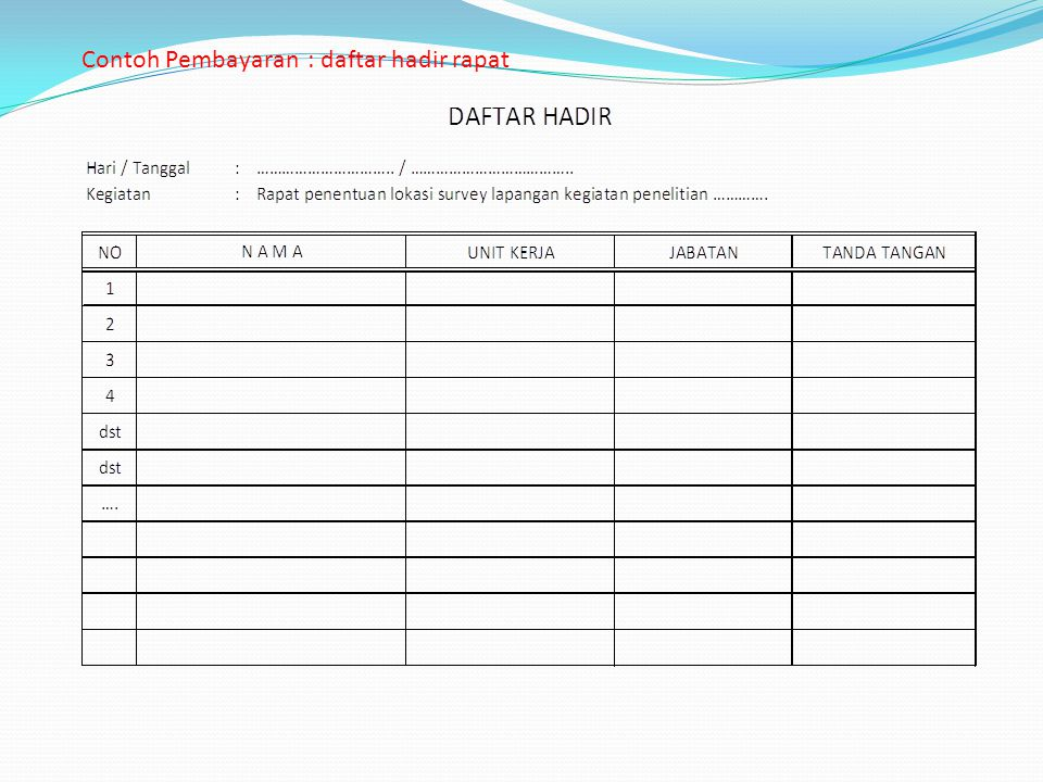 Contoh Pembayaran : daftar hadir rapat