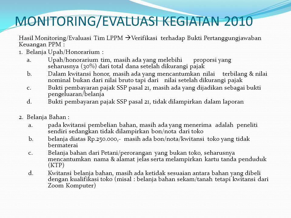 MONITORING/EVALUASI KEGIATAN 2010