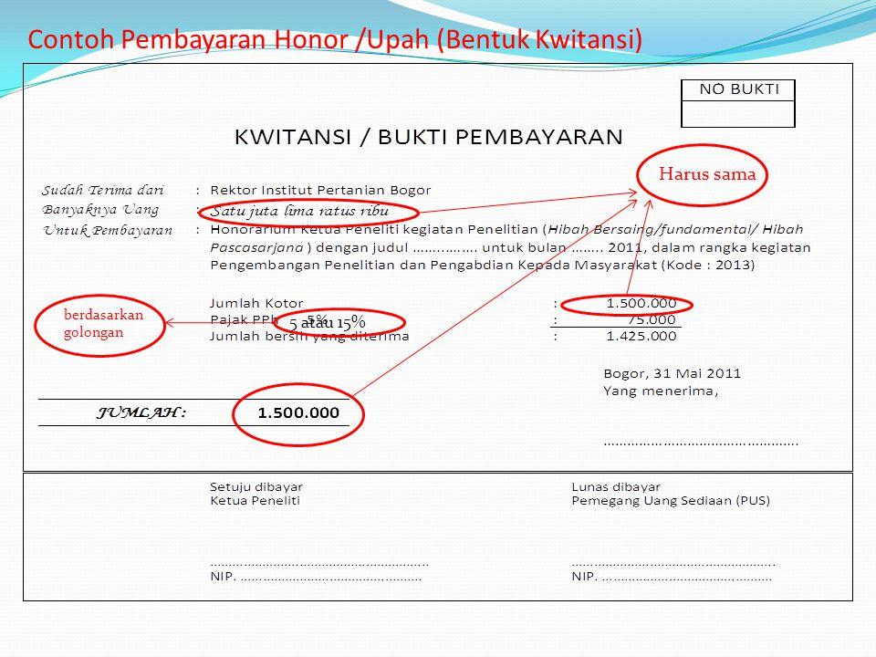 Contoh Pembayaran Honor /Upah (Bentuk Kwitansi)