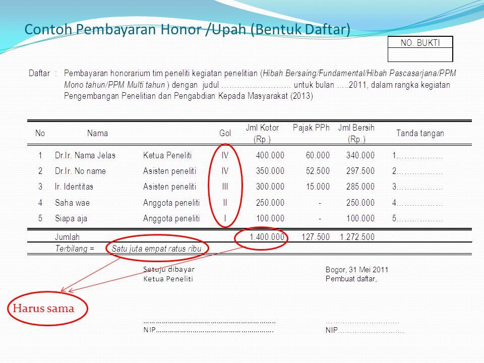 Contoh Pembayaran Honor /Upah (Bentuk Daftar)