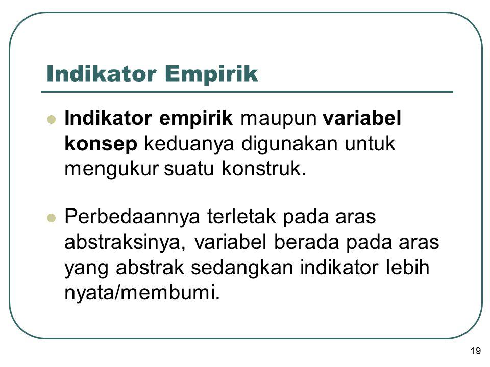 Indikator Empirik Indikator empirik maupun variabel konsep keduanya digunakan untuk mengukur suatu konstruk.
