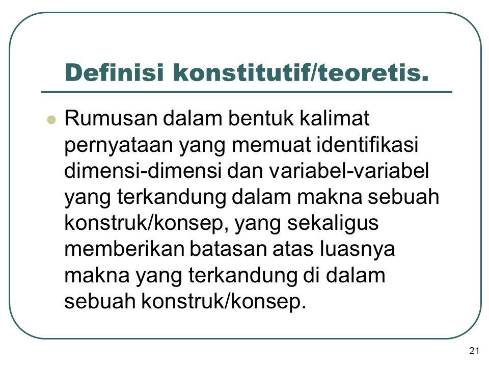 Definisi konstitutif/teoretis.