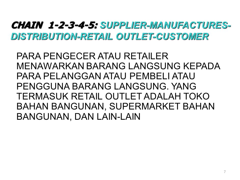 CHAIN : SUPPLIER-MANUFACTURES-