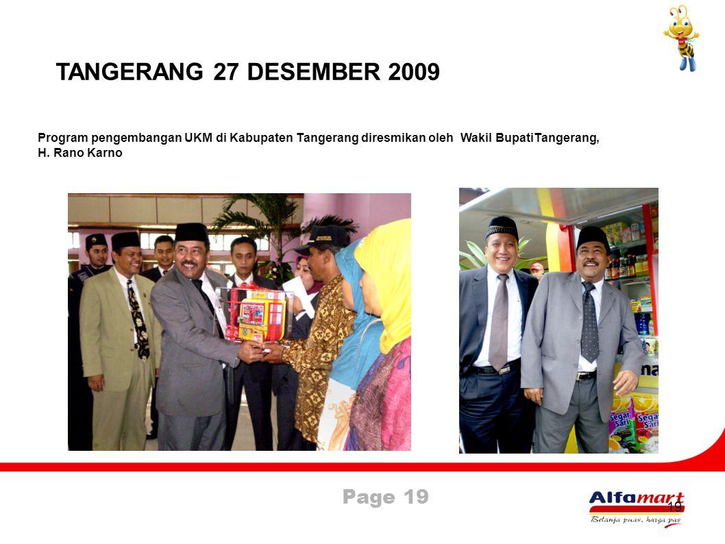 TANGERANG 27 DESEMBER 2009 Program pengembangan UKM di Kabupaten Tangerang diresmikan oleh Wakil BupatiTangerang,