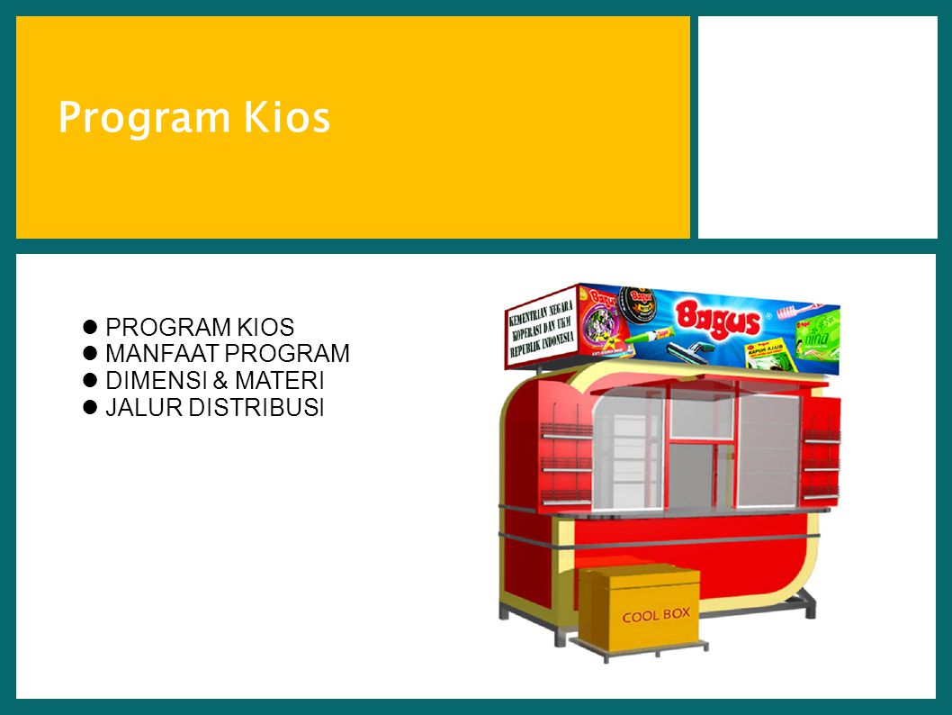 Program Kios PROGRAM KIOS MANFAAT PROGRAM DIMENSI & MATERI
