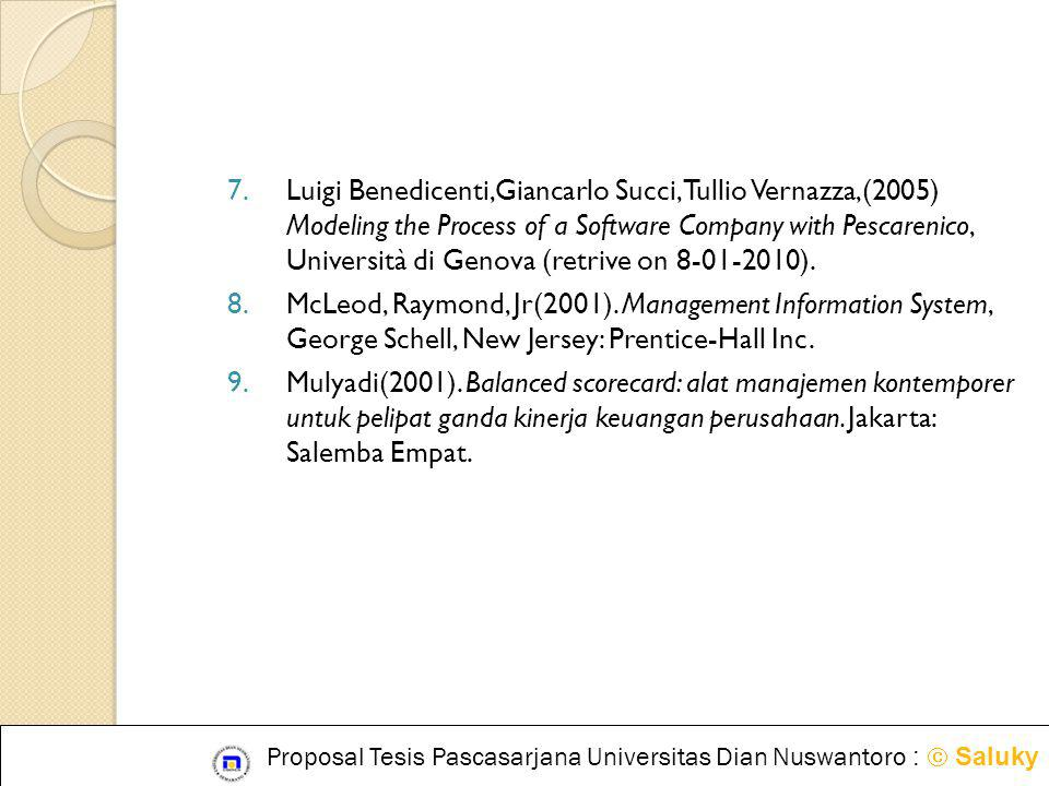 Luigi Benedicenti,Giancarlo Succi, Tullio Vernazza,(2005) Modeling the Process of a Software Company with Pescarenico, Università di Genova (retrive on 8-01-2010).