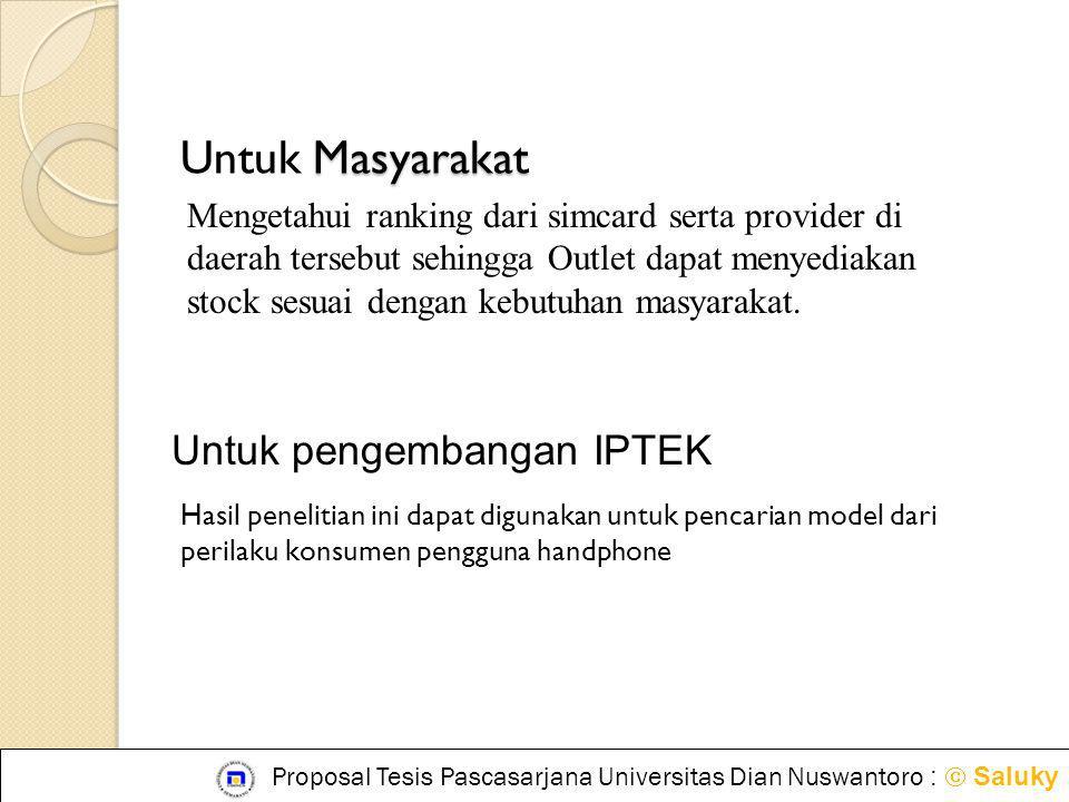 Untuk Masyarakat Untuk pengembangan IPTEK