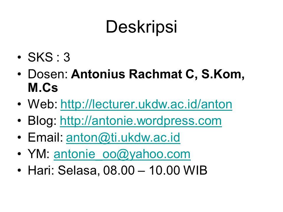 Deskripsi SKS : 3 Dosen: Antonius Rachmat C, S.Kom, M.Cs