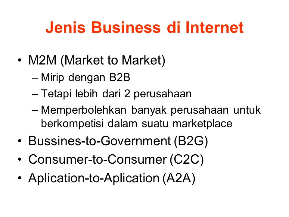 Jenis Business di Internet