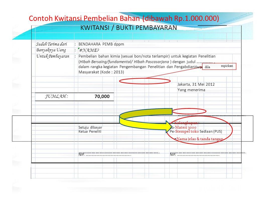 Contoh Kwitansi Pembelian Bahan (dibawah Rp.1.000.000)