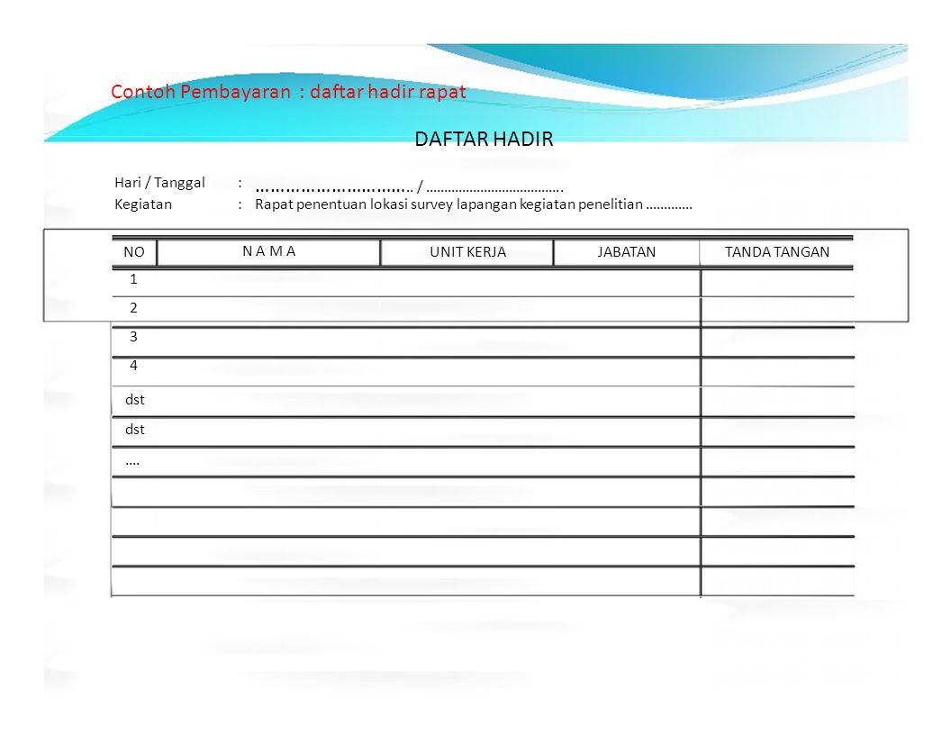 DAFTAR HADIR Contoh Pembayaran : daftar hadir rapat