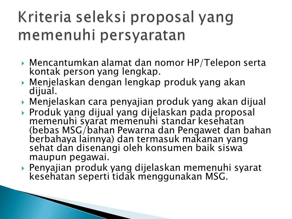 Kriteria seleksi proposal yang memenuhi persyaratan