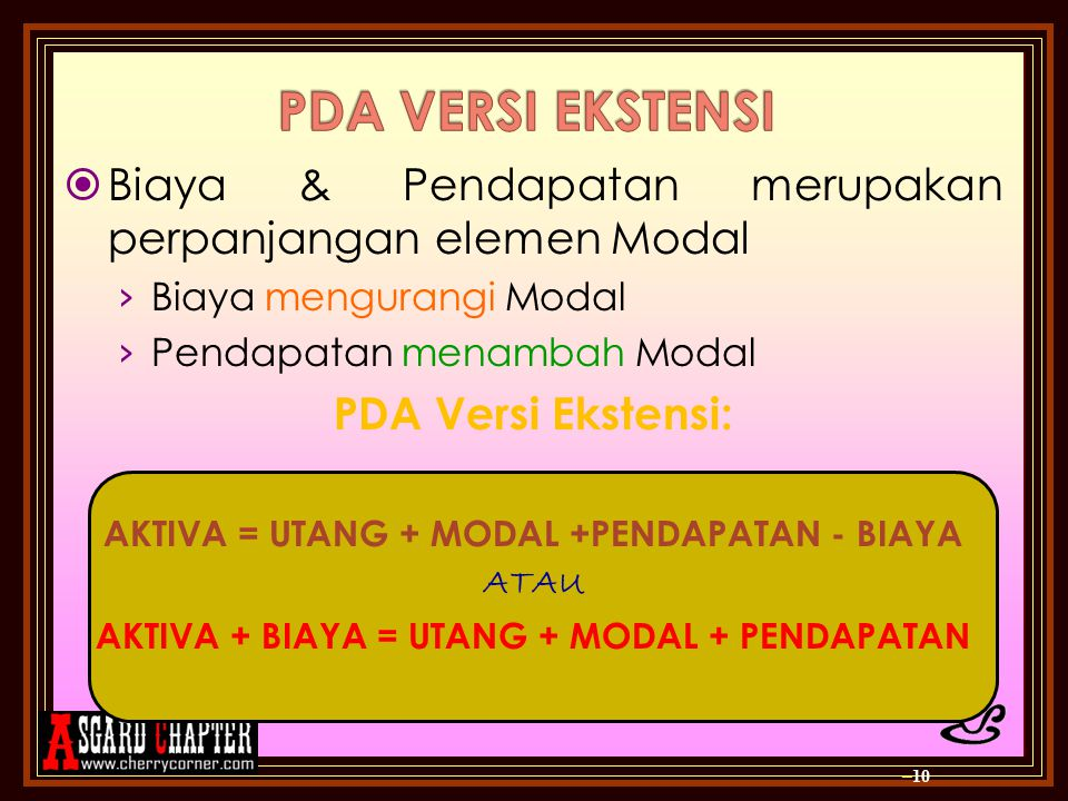 PDA VERSI EKSTENSI Biaya & Pendapatan merupakan perpanjangan elemen Modal. Biaya mengurangi Modal.