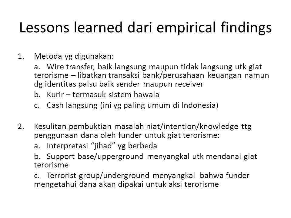 Lessons learned dari empirical findings