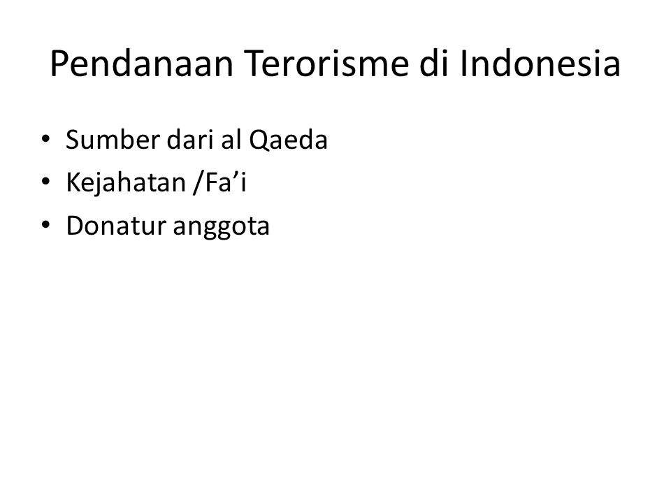 Pendanaan Terorisme di Indonesia