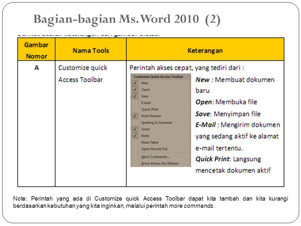 Bagian-bagian Ms. Word 2010 (2)