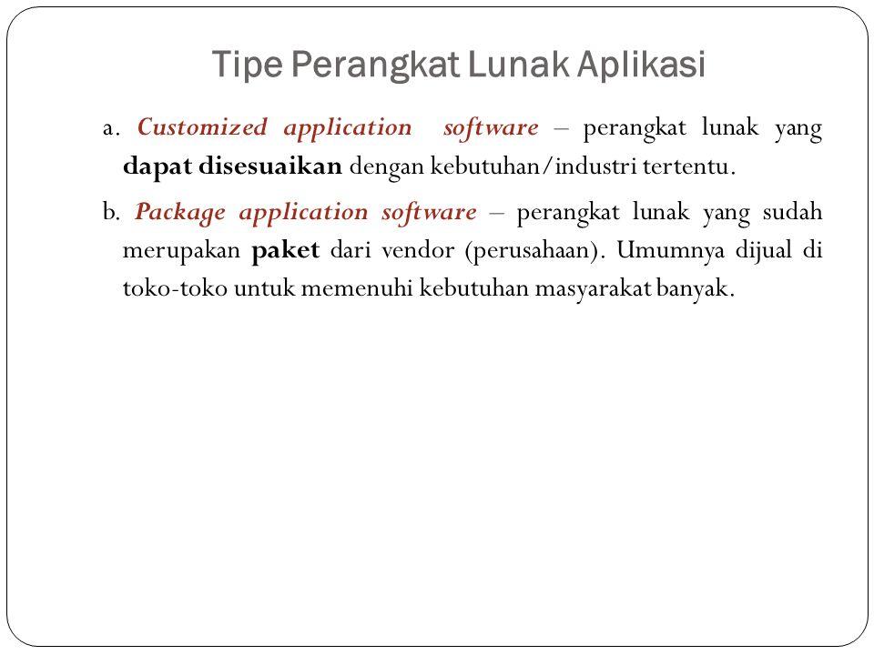 Tipe Perangkat Lunak Aplikasi