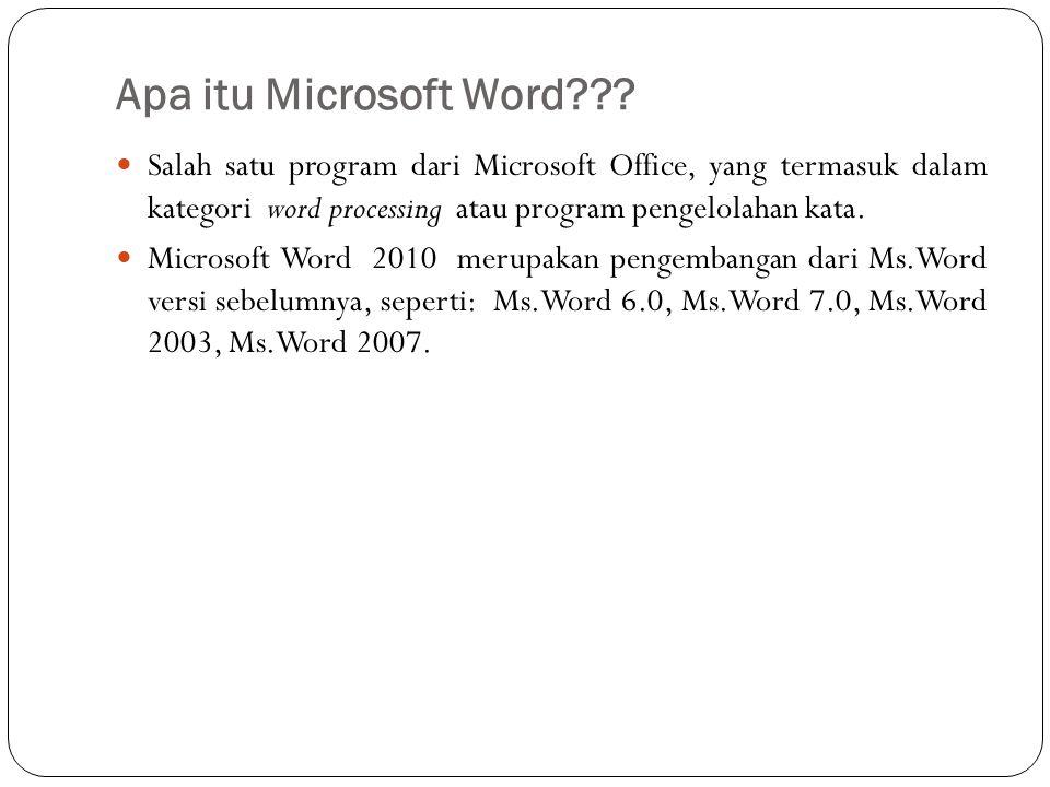 Apa itu Microsoft Word Salah satu program dari Microsoft Office, yang termasuk dalam kategori word processing atau program pengelolahan kata.