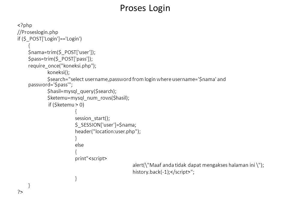 Proses Login